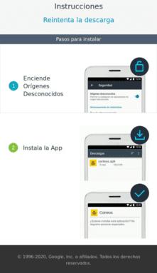 Instrucciones de instalación app fraudulenta correos