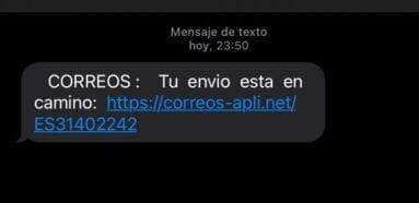 SMS fraudulento de Correos