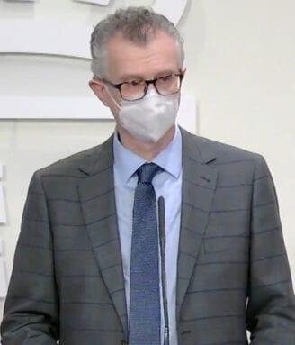 El consejero de Salud, Juan José Pedreño, en la rueda de prensa de esta mañana