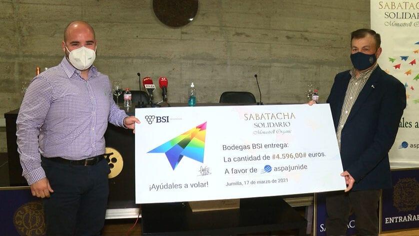 Bodegas BSI recauda 4.596 euros a favor de Aspajunide con la edición solidaria de su vino Sabatacha