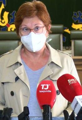 Juana Guardiola en su comparecencia de esta mañana