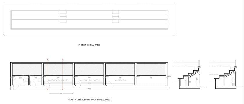 Plano de la grada y su distribución tras la remodelación