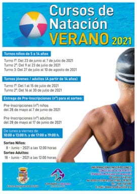 Cartel cursos de natación en las Piscinas de Verano
