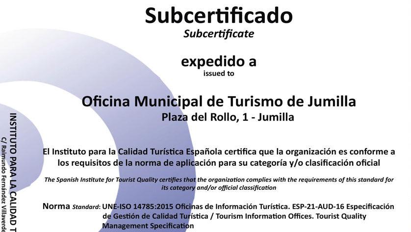 La Oficina de Turismo de Jumilla ya cuenta con las certificaciones Q de Calidad y SAFE