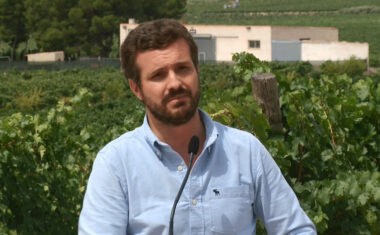 Pablo Casado visita Bodegas Juan Gil para apoyar a los viticultores en el inicio de la campaña de la vendimia