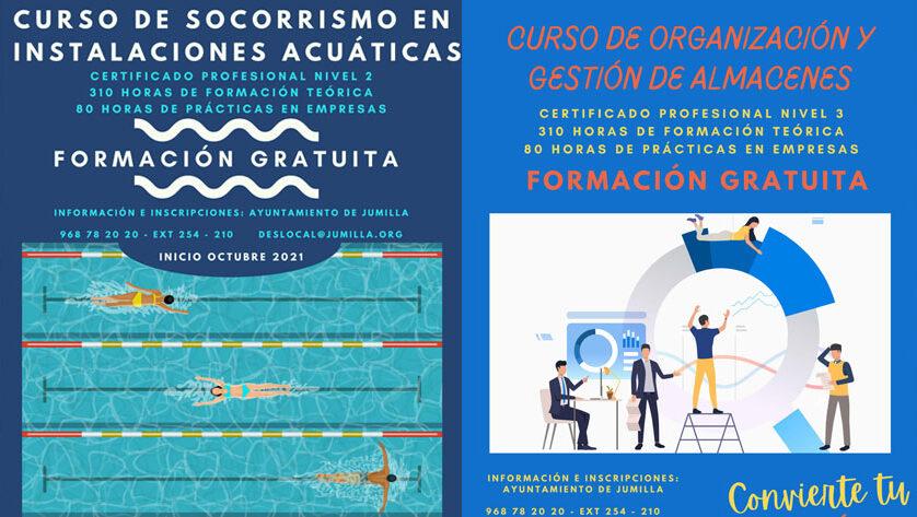 Oferta de cursos de Socorrismo en instalaciones acuáticas y Organización y Gestión de Almacenes