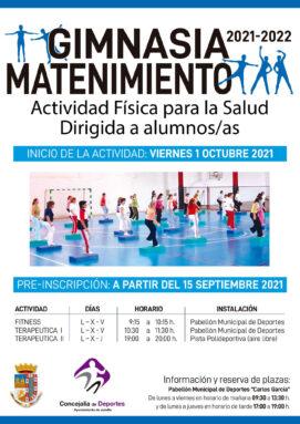 Calendario de Clases de Gimnasia Terapéutica y Fitness