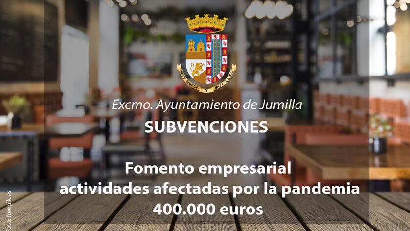 Hoy se abre el plazo de solicitud de subvenciones al comercio, restauración, hostelería y otras actividades de Jumilla afectadas por la pandemia