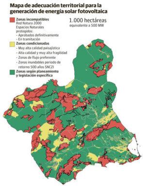El mapa recoge las zonas más recomendables para instalaciones fotovoltáicas en la Región